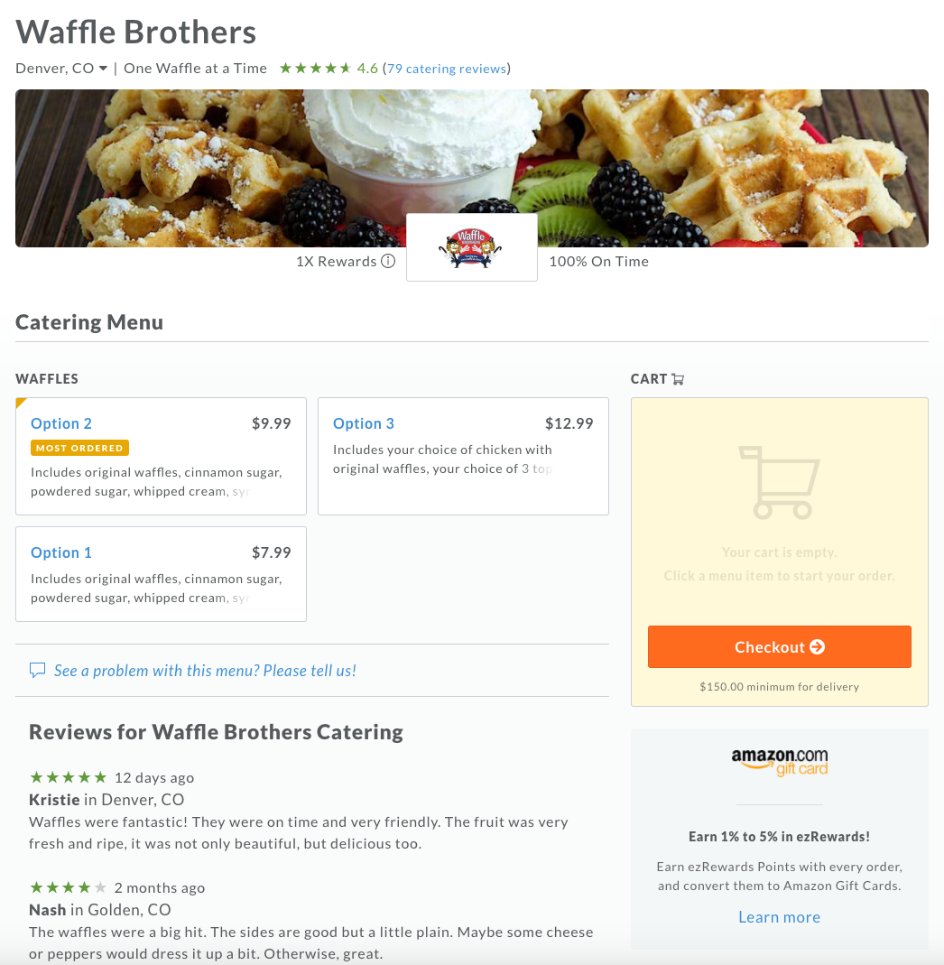 EZ Cater at Waffle Brothers!